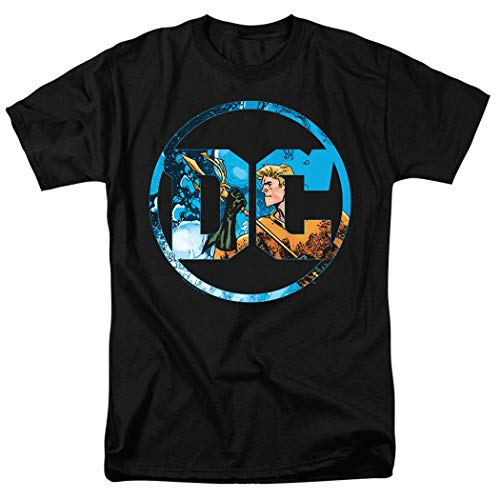 Aquaman DC Comics Logo T Shirt & Exclusive Stickers (X-Large) Black (Best Place To Print Stickers)