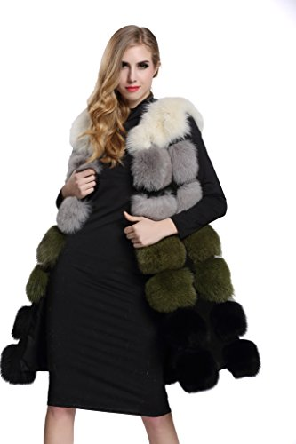 Topfur Women's Gilet Whole Silver Fox Fur Green Waistcoat Winter Vest(US 14) by Top Fur