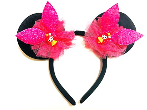 Meethan Mickey Minnie Mouse Ears Sequin Crystal Bows Kids Headbands   M13  Red  Rb