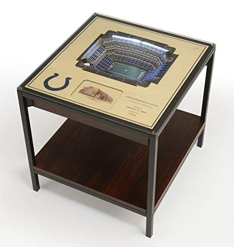 YouTheFan NFL Indianapolis Colts Unisex 25-Layer StadiumViews Lighted End TableNFL 25-Layer StadiumViews Lighted End Table, Espresso, 23