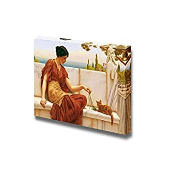 The Favourite (or The Tease) by John William Godward Famous Fine Art Reproduction World Famous Painting Replica on ped Print Wood Framed - Canvas Art Wall Art - 16