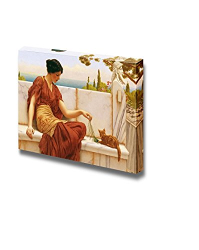 The Favourite (or The Tease) by John William Godward - Canvas Wall Art Famous Fine Art Reproduction| World Famous Painting Replica on Wrapped Canvas Print Modern Home Decor Wood Framed & Ready to Hang - 16