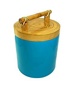 Bodhi Tree Collections Scuba Blue Spun Bamboo and Lacquer Canister, Large, Scuba Blue