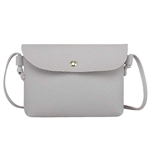 Zainafacai bag, Womens Leather Crossbody Bag Pure Color Shoulder Bags Messenger Bag Coin bag (Gray)