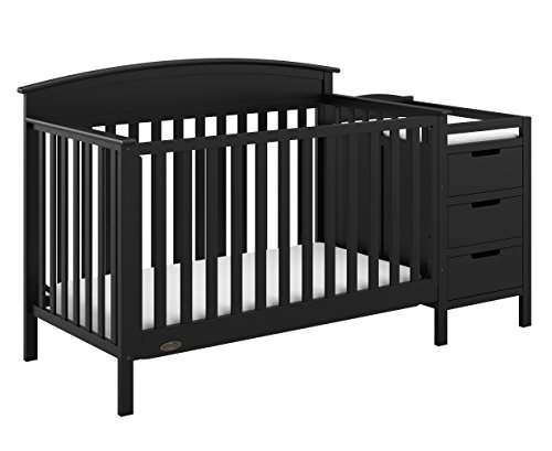 Graco Benton 4-in-1 Convertible Crib and Changer (Black) - Attached Changing Table with Water-Resistant Changing Pad, Space-Saving Storage with 3 Drawers and 3 Open Shelves from Storkcraft