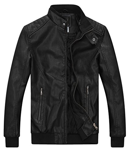 ZSHOW Men's Motorcycle Stand Collar PU Leather Jacket