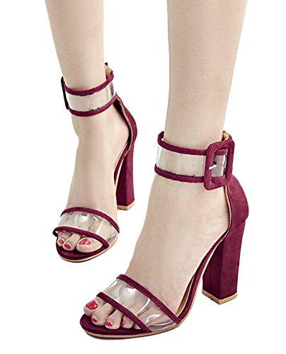 Cinturnino Aperta Punta Rosso Scarpe Caviglia Fibbia Sandali Festa Vino Minetom Alto Donna Trasparente Estate Tacco Stiletto xFwn0UYvq4