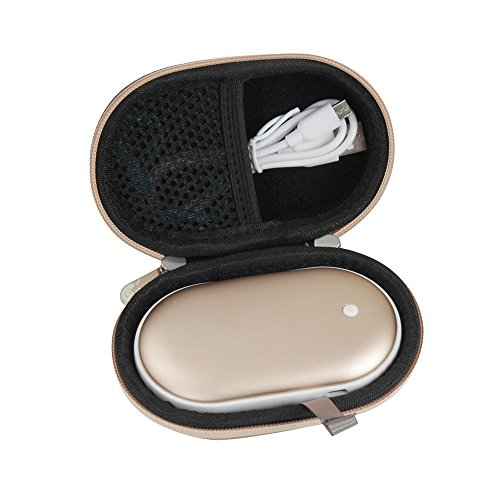 Hermitshell Hard EVA Travel Case Fits Osunlin 5200mAh Portable Pebbles Double-Side Rechargeable Hand Warmer Power Bank (Gold)