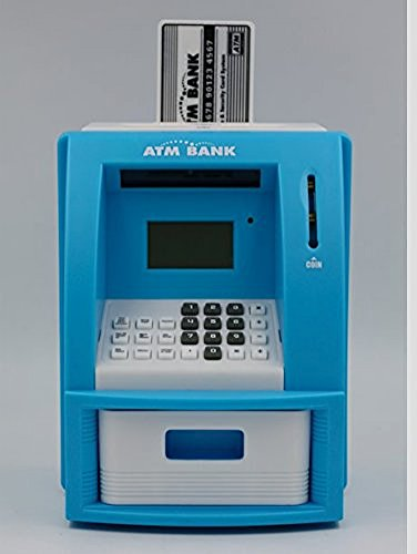 ATM Bank- Works like a real one- Deposit, Withdraw, Debit Card, Saving Target, Timer and Clock-Lite Blue ()