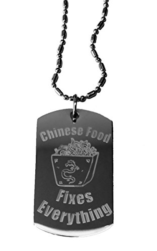 Chinese Food Delivery Costume (Chinese Food Fixes Everything - Luggage Metal Chain Necklace Military Dog Tag)