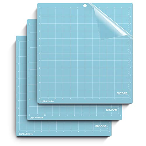 Nicapa Cutting Mat for Silhouette Cameo 3/2/1 [Light-Grip,12x12 inch 3pack] Adhesive&Sticky Non-Slip Flexible Square Gridded Blue Cut Mats Replacement Accessories Set Matts Vinyl Craft Sewing