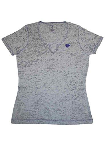 Antigua Kansas State Wildcats Women Gray Burnout V-Neck T-Shirt (M)