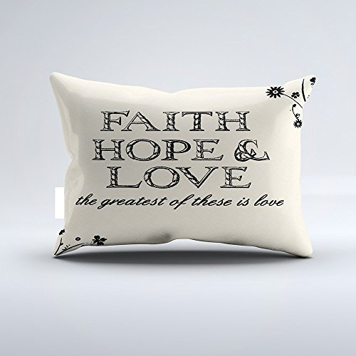 Orlando-XV Faith, Hope & Love Parchment Throw Pillow Pillowcase Pillow Cushion Cover Cases Single Side 12x24 by Orlando-XV