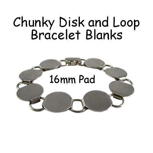 3 Disk Loop Chain Bracelet Form Blank Chunky 7.5 Inch with 16mm Pads