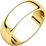 Men's and Women's 18k Yellow Gold, 6mm Wide, High Dome, Plain Wedding Band