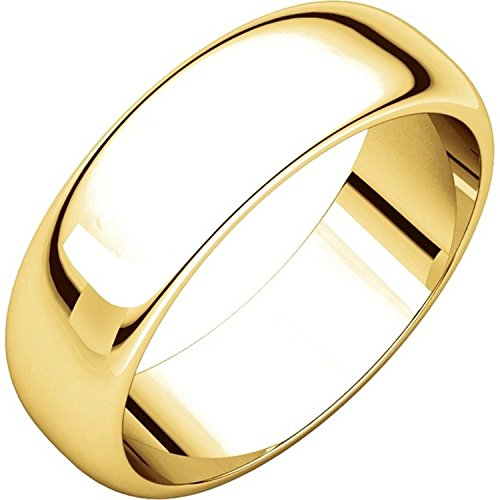 18k Yellow Gold Dome - Men's and Women's 18k Yellow Gold, 6mm Wide, High Dome, Plain Wedding Band - Size 6