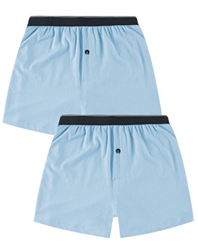 CYZ Mens 2-Pack 100% Cotton Knit Boxer Shorts/Lounge Shorts-PlacidBlue-M