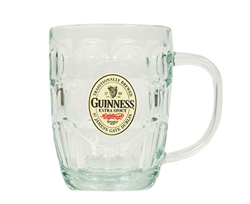 Guinness Hobnail Tankard - Classic Glass Beer Mug with Handle ()