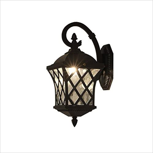 M-zmds Postmodern Retro Black Rustic Wall Lamp Outdoor Waterproof Wall Lights with Glass Lampshade Wall Wall Sconce for Corridor Balcony Barn Garage Lighting Fixtures