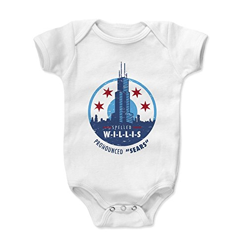 500 LEVEL Chicago Baby Clothes, Onesie, Creeper, Bodysuit - 12-18 Months White - Willis Tower Pronounced Sears (Sears Level)