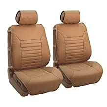 FH Group PU206TAN102 Tan Multifunctional Quilted Leather Front Seat Cushion, Set of 2 (W. Seatback Organizer Storage - Airbag Safe)