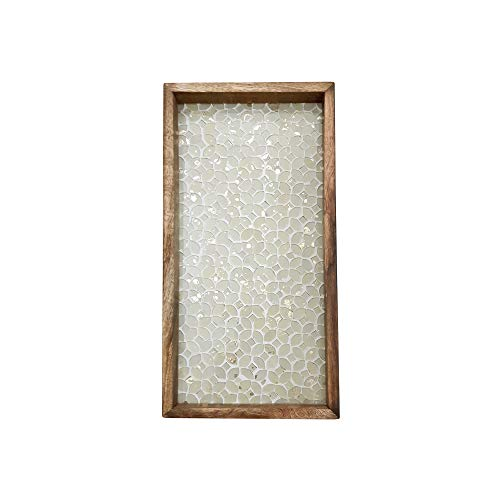nu steel TR-249 Nusteel Wooden Hand Towel Storage Dispenser, Sturdy Holder for Cosmetic Tray-Bathroom Vanity Countertop, Gold Mosaic Finish