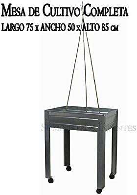 MESA DE CULTIVO COMPLETA Acero Galvanizado. Medidas: Largo 75cm x ...