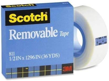 Transparent Wholesale CASE of 25-3M Scotch Removable Magic Tape-Removable Tape 1 Core,1//2x1296