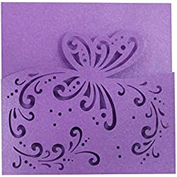 SODIAL 20 pcs Card Paper Square Announcement Elegant Pattern Wedding Invitation Card - 15 cm - Purple Butterfly