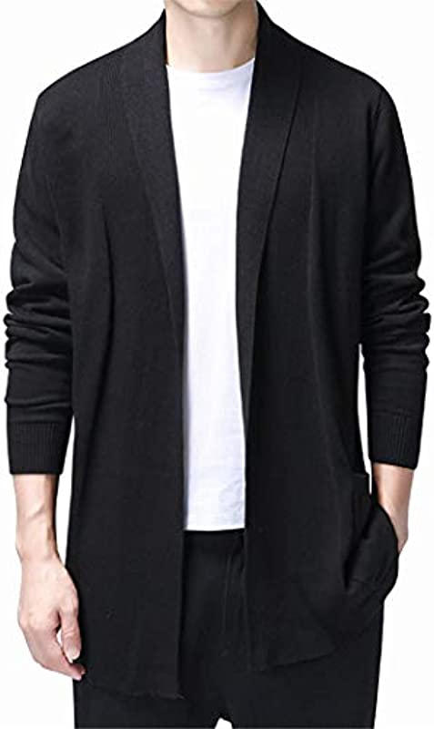 Solide Strickjacke Męskie Lässig gestrickter Baumwollpullover Long Style Cardigans Coat Pull Sweater: Odzież