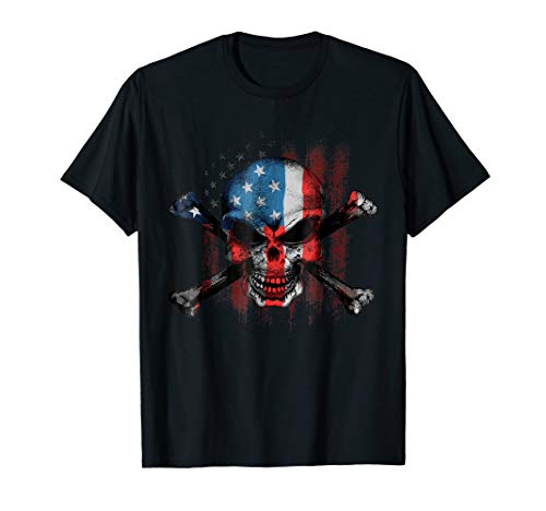 Skull Bones American USA Flag Vintage Patriotic T-Shirt