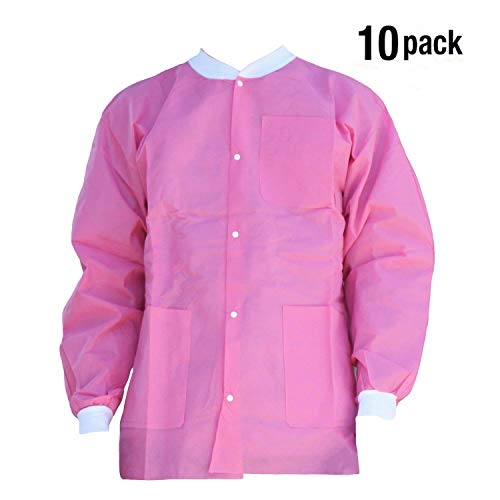 Premium Quality SMS Jacket for Medical Professionals, Made of SMS Soft Fabric 3 Layer, Lab Jacket Prevents Static, Latex Free, (10-pack) (Large, Pink) by VIVID (Image #2)