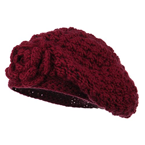Women's Flower Accent Beret - Burgundy OSFM