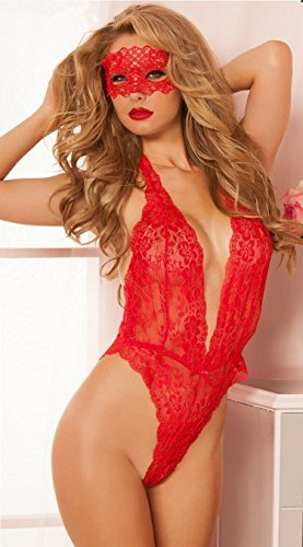 Pigiama Sleepwear Teddies Lingerie Piece Floral Donna Nightwear Halter Lace Hollow Vestito Biancheria One Lingerie Sexy Sexy Backless Red Hangang vqntzZxZ