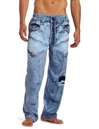 MJC International Men's Generic Faux Denim Pajama Pant, Blue, Small