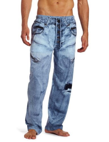 MJC International Men's Generic Faux Denim Pajama Pant, Blue, Large (Lounge Pants Jeans)