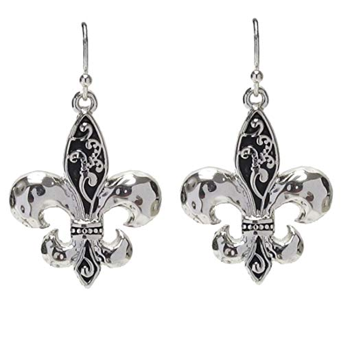 DianaL Boutique Gorgeous Silver and Black Tone Fleur De Lis Earrings Fashion Jewelry