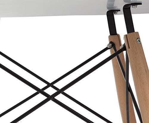 Rojas Mobiliario MES0090 Mesa Comedor Patas de Madera de Haya y Varillas met/álicas pintadas de Negro Tapa Fabricada en MDF y lacada Brillo Talla /única