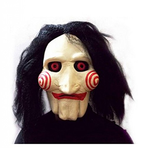 KINGDE Saw Movie Jigsaw Puppet Mask Halloween Full Mask Head Latex Creepy Scary (Jigsaw Puppet Halloween)