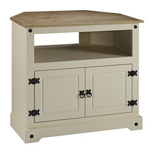 Mercers Furniture Corona Painted Corner TV Unit - Cream/Pine