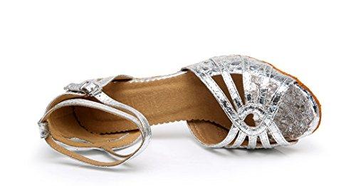 Latin Toe Ballroom Glitter Tango Sequins Salsa Snakeskin Mid Women's Dance Heel TDA Wedding Peep Silver Modern Shoes PWTHA0q
