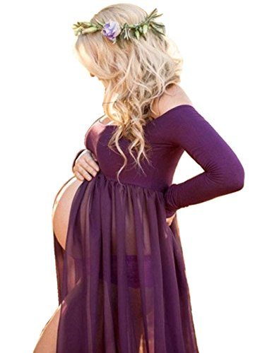 ZIUMUDY Maternity Maxi Chiffon Photography Dress Split Front Gown for Photoshoot