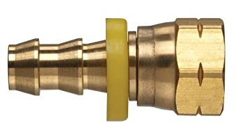 Kuriyama POFFSA-0606 Brass Push-On Hose Fitting, SAE 45