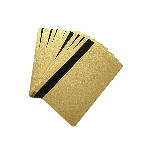 Pvc Mag Stripe - ISO Hi CO 2750/3000/ 4000 Oe Hi co Magnetic Stripe Magstripe Flash Gold PVC Card (10pcs)