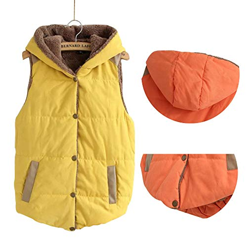 Jacket Yellow Fleece Winter Hooded BOZEVON Gilet Jacket Womens Vest Waistcoat Button Sleeveless Vest Slim wRFBfOO7qZ