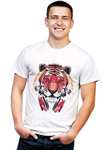 Retreez Funky DJ Tiger with Headphones & Shades Graphic Printed Unisex Men / Boys / Women T-shirt Tee - White - (Tiger Graphic T-shirt)
