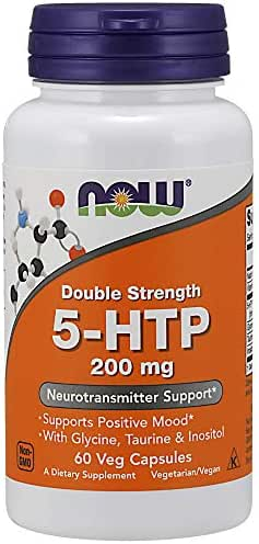 NOW Supplements, 5-HTP (5-hydroxytryptophan) 200 mg, Double Strength, Neurotransmitter Support*, 60 Veg Capsules