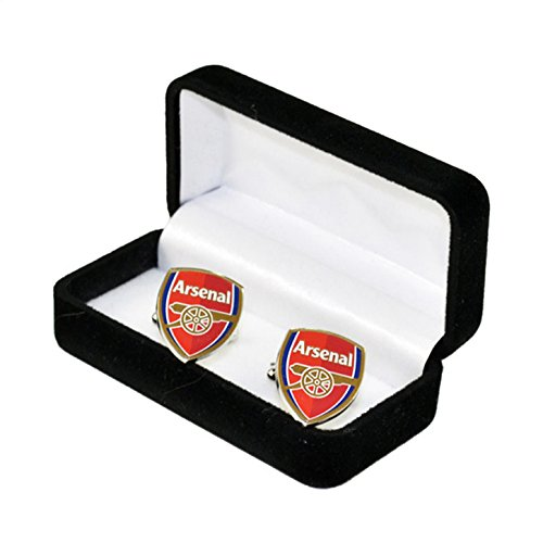Arsenal FC Official Soccer Crest Metal Cufflinks (One Size) (Silver/Red)