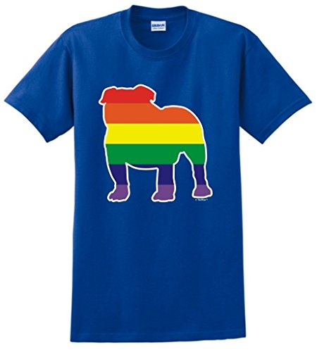 Dog Lover Gift English Bulldog Gay Pride Rainbow T-Shirt Large Royal