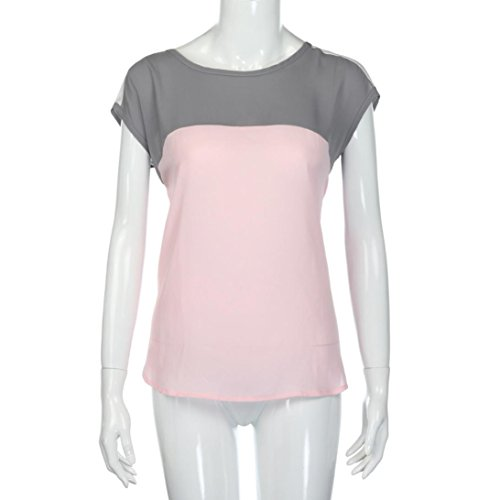 FEITONG Mujer Verano Chaleco Parte superior Camisa sin mangas Blusa Casual Tanque Tops Camiseta Rosa